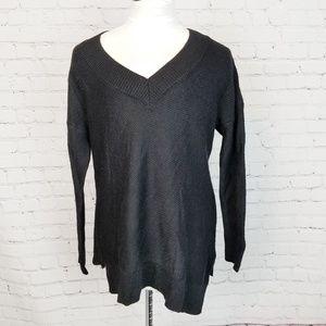 Soft Surroundings|Black Asymmetric Hem Sweater